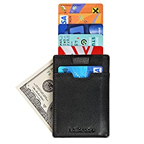 Slim Mens Sleeve Front Pocket Wallet Made from Genuine Leather including RFID Blocking Security with Thin Minimalist Style - Ultra Skinny Credit Card Holder Design by Kalibrado