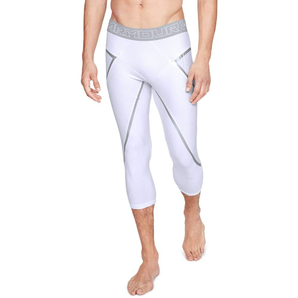 Under Armour Men's Core 3/4 Legging, White (100)/Overcast Gray, Medium by Under Armour