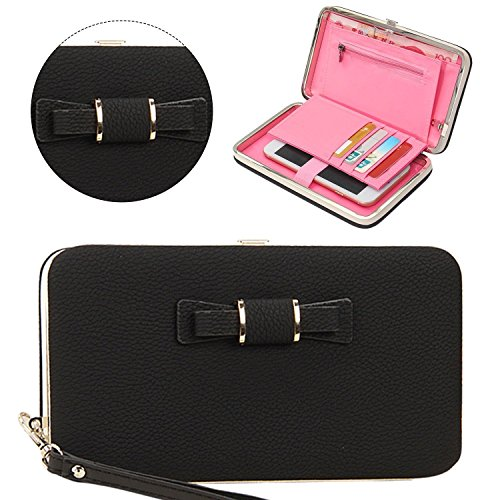 Naomi Women Bowknot Wallet Long Purse Phone Card Holder Clutch Large Capacity Pocket HANDBAG STYLE [18.5-10.5-2.8cm] Black