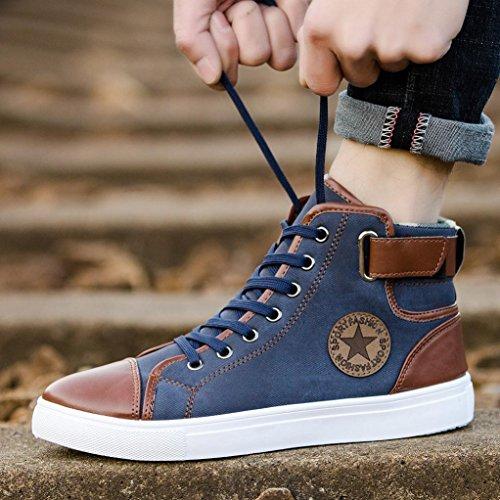 Sport Casual Lenfesh Canvas High Canvas Boots Blue Unisex Top Size Shoes School Shoes Plus up Ankle Lace Couple Shoes raSqxrw7