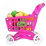 Rcool Shopping Cart Toys Fruit Vegetable Supermarket Handcart Shopping Utility Cart Trolley Storage Basket Toy Children Kids Educational Toy (Red)