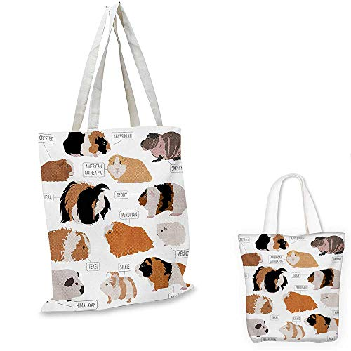 (Guinea Pig shopping tote bag Infographic Design Classification for Types of Rodent Breeds travel shopping bag Sand Brown Amber and Ginger. 12