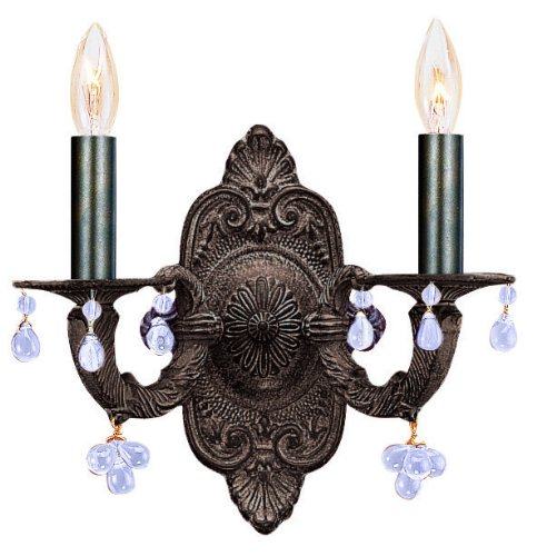 Sutton 2 Light Candle Wall Sconce in Venetian Bronze Color Accents: (Paris Flea 2 Light Sconce)