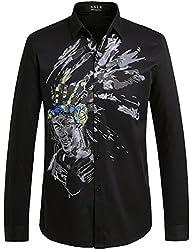 SSLR Men's Straight Fit Graffiti Long Sleeve Shirts (Large, Black)