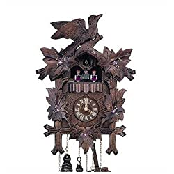 13 Cuckoo Clock with Hand-Painted Flowers and Dancing Figurines