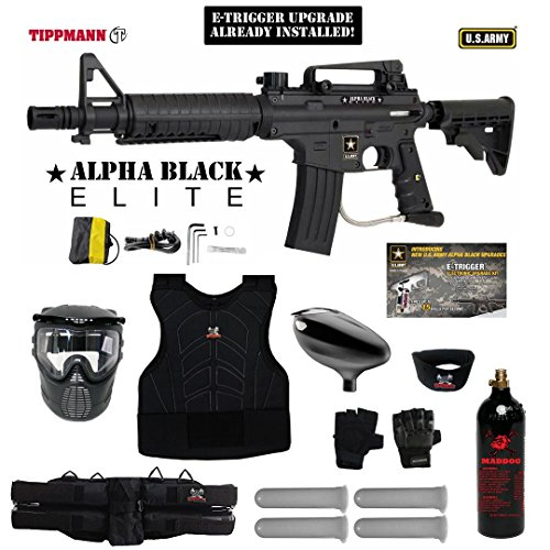 MAddog Tippmann U.S. Army Alpha Black Elite Tactical w/E-Grip Starter Protective CO2 Paintball Gun Package - Black