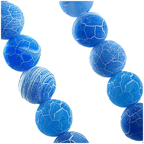 Strand Agate - Blue Fire Dragon Veins Agate Gem Round Beads 8mm Strand - Beads Strand Agate Necklace Goku Blue Vegeta Action Figure Dragon Ball Figura Super Saiyan Plastic Plush Figur Orange