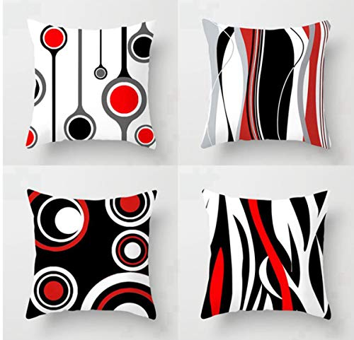 Emvency Set of 4 Throw Pillow Covers 18x18 Inches Decorative Cushion Modern Abstract Red Black White and Grey Wavy Vertical Stripes Dot Polyester Pillow Cases Square Pillocases for Bed Sofa (Red Pillows And Grey)