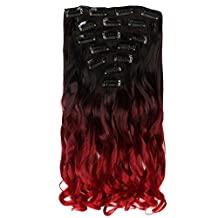 Neverland Beauty 55cm 7Pcs 16 Clips Clip in Triple Ombre Three Tone Synthetic Curly Wavy Hair Extensions Brown Black to Dark Red to Red