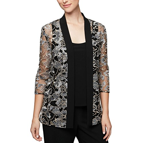 Multi Embroidered Jacket (Alex Evenings Women's Printed Twinset with Tank Top and Jacket, Black/Multi S)