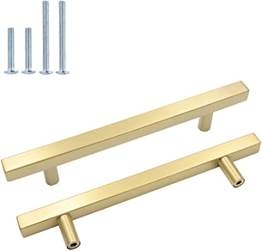 LONTAN LSJ12GD Square Gold Kitchen Cupboard Door Handles 76mm Hole Centers Knobs 10 Pack Brushed Brass Drawer Knobs Bathroom Cabinet Handles