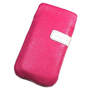 Duragadget-Funda de piel sintética rosa para Samsung R680 Repp L