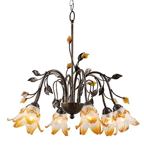 OK Lighting OK-9143H Windance Floral Ceiling Lamp, 24-Inch, Dark Antique Bronze ()