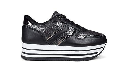 7baf61804fe Bosanova Zapatillas Deportivas Bambas Casual Sneakers con Plataforma Rayada  Diseño y Textura Piel de Cocodrilo para Mujer
