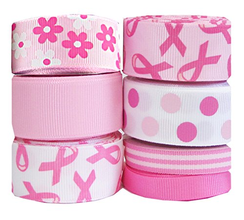 HipGirl Grosgrain Printed Ribbon For Alzheimer's Disease or Breast Cancer Awareness Fundraiser, Gift Package Wrapping, Hair Bow Clips, Crafting, Survivor Walk / Run--35-Yard 3/8 - 7/8-Inch, (Solid Gold Sport Charm)