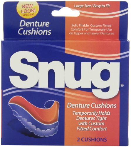 Snug Denture Cushions - Temporarily holds dentures tight with custom fitted comfort, 2-count cushions, Pack of 6