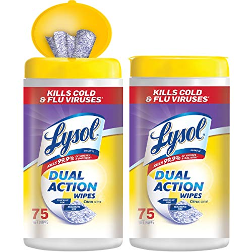 (Lysol Dual Action Disinfecting Wipes Value Pack, Citrus, 150ct)
