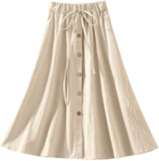 04531db165 Allonly Women's A-Line High Waisted Button Front Drawstring Pleated Midi  Skirt with Elastic Waist