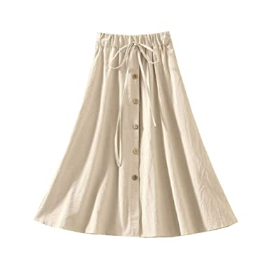 8d0fa9fbf Allonly Women's A-Line High Waisted Button Front Drawstring Pleated Midi  Skirt with Elastic Waist