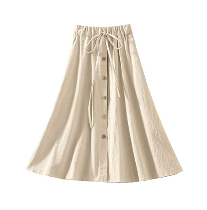 d68821a32 Allonly Women's A-Line High Waisted Button Front Drawstring Pleated Midi  Skirt with Elastic Waist