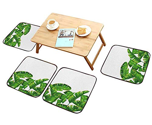 (HuaWu-home Comfortable Chair Cushions Seamless with Banana Palm Leaves Reuse can be Cleaned W17.5 x L17.5/4PCS Set)