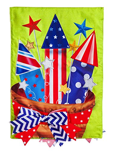- Evergreen Basket of Fireworks Linen House Flag, 28 x 44 inches