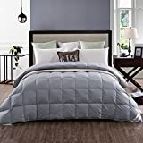 Summer Lightweight 100% White Goose Down Comforter Blanket, Twin Size, Solid Grey
