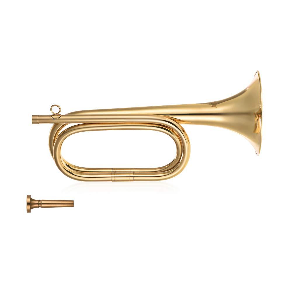 Festnight Brass Bugle B Flat Cavalry Horn Trumpet with Mouthpiece Gold 2pcs// Pack