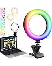 """6"""" RGB Led Ring Light, ENEGON Selfie Light with Clamp for Desk Zoom Meeting, Webcam, Video Conference Lighting, Laptop, YouTube, Live Steam & Broadcast, 15 Color/1 8 Flashing Modes 360°Rotatable"""