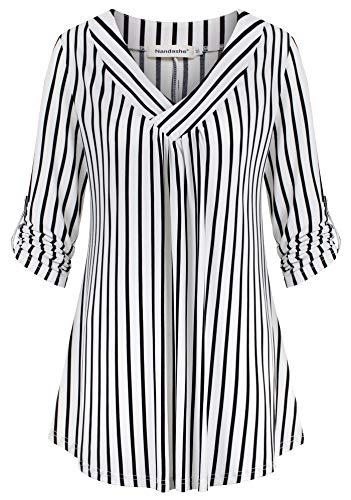 - Nandashe Black White Striped Shirt Women, Petite Shirts Trendy Classic V Neckline Half Sleeve Draped Front Embellished A Line Flare Hem Blusa de Mujer Tartan Rayon Blouse Swing Bottom Lady Apparel M