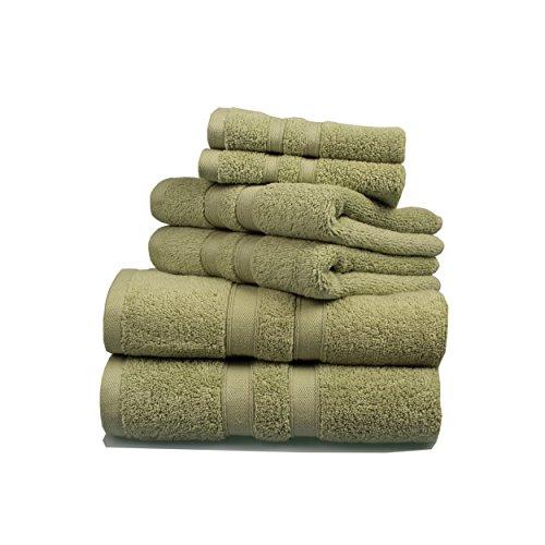 Feather Touch 6 Piece Towel Set Sage 2 Bath Towels 2