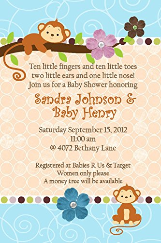 Jungle Baby Shower Invitations Hanging Monkey Any Colors Custom