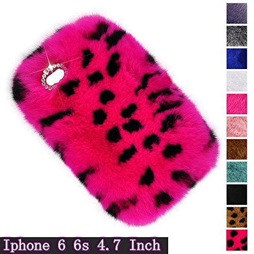 Fast Jewelry iPhone 6 /6S Hotpink Leopard Soft Handmade Case,Glitter Diamond Smooth Touch Fur Case Shockproof Protective Back Cute Animal Hair Back Cover For iPhone 6 /6S 4.7 inch