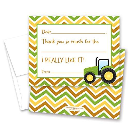 20 Green Tractor Chevron Kids Fill-In Thank You - You Deere John Thank