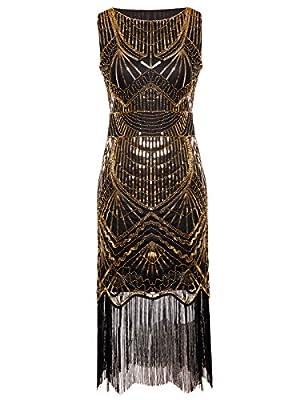 FAIRY COUPLE 1920s Gatsby Full Sequined Tassels Hem Flapper Prom Dress D20S011