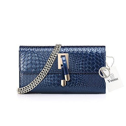 piel con Bolso mujer Yoome patentado para diseño azul cocodrilo de de H0qxdxwP