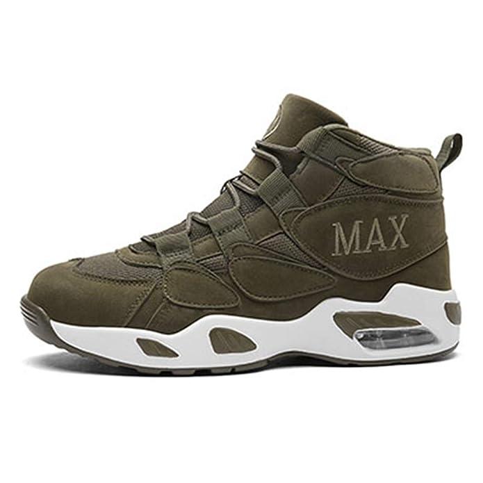 Los Hombres de Baloncesto Zapatos de Alta Top Deporte colchón de Aire MAX Malla Transpirable Botines Zapatillas de Hombre: Amazon.es: Zapatos y complementos