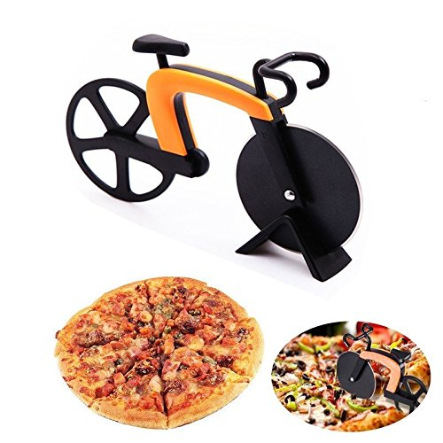 Pizza cutter Dual Non-stick Bike Wheel Knife Slicer with stand