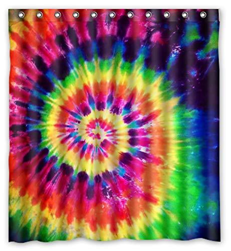 ZHANZZK Colorful Tie Dye Waterproof Bathroom Shower Curtain 66x72 Inches (Lovely Lattice Shower Curtain)