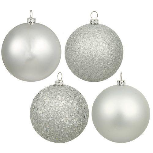 (Vickerman 4-Finish Assorted Plastic Ornament Set & Seamless Shatterproof Christmas Ball Ornaments with Drilled Cap, Assorted 4 per Bag, 6