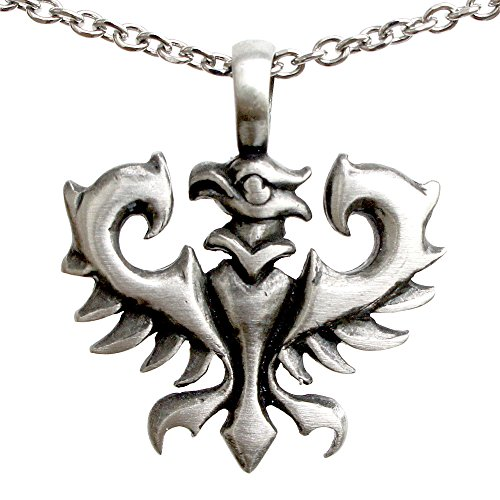 German Phoenix Bird Vulture Eagle Charm Amulet Pewter Pendant Stainless Steel Chain Necklace