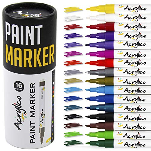 Acrylic Fabric Black - Acrylico Markers Multi Surface Premium Pack | Set of 16 Vibrant Colors Acrylic Paint Pens | Extra-Fine Tip, Opaque Ink, Non-Toxic