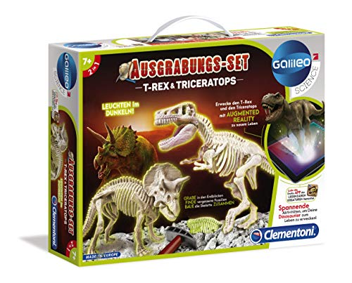 Clementoni 69408.2 - Galileo - Dig T-Rex y Triceratops Fluorescente Experimentierkaesten