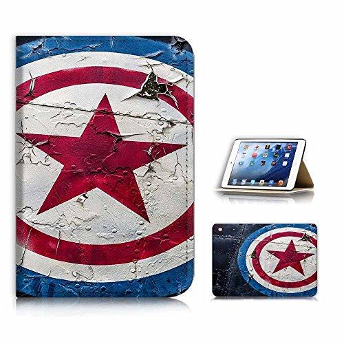 (for iPad Mini 1 2 3, Generation 1/2/3) Flip Case Cover & Screen Protector Bundle - A21011 Captain America Shield (Ipad 2 Mini Captain America)