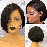 Short Straight Bob Cut Full Lace Wigs Human Hair for Black Women Glueless Brazilian Virgin Hair Left Side Part Pre…