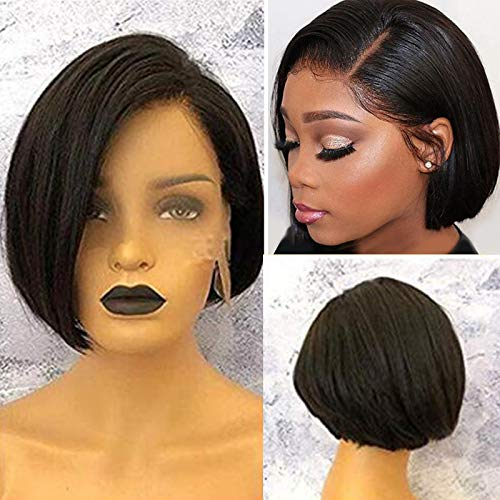 Short Straight Bob Cut Lace Front Wigs Human Hair for Black Women Glueless Brazilian Virgin Hair Left Side Part Pre Plucked with Baby Hair Bob Wigs Bleached Knots 1B# (8inch, Lace Front Wig) (Short Hair For Women With Thick Hair)