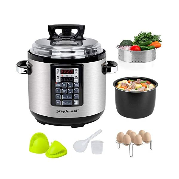 prepAmeal 6QT 8-IN-1 ( 3 Speeds Options ) Pressure Cooker with Accessories Set, Multi-Use Programmable Instant Cooker… 1