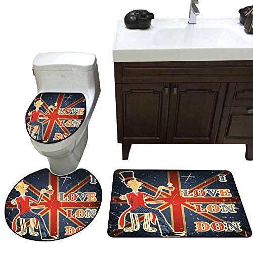 3 Piece Extended Bath mat Set British Love London Quote with English Man on UK Flag Backdrop National Design Custom Made Gold Dark Blue Red -
