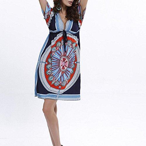 Boho Abiti Landove Abito Scollo Donna V Chic Floreali Fiore Blu Stampa Scuro Vestito Da Spiaggia A Vestiti Mini qSRSvwd
