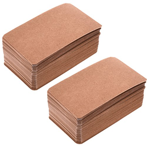 BCP 200pcs Kraft Paper Blank Kraft Message Business Gift Card Word Card 3.5 x 2 inches